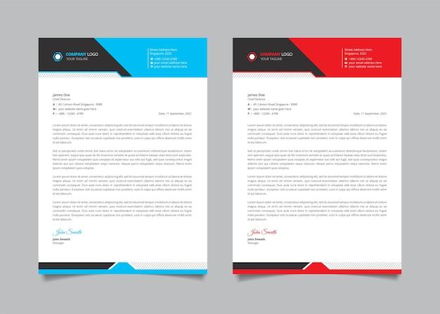 Kreative geschäftsbriefkopfschablone mit roter, blauer und schwarzer form Premium Vektoren