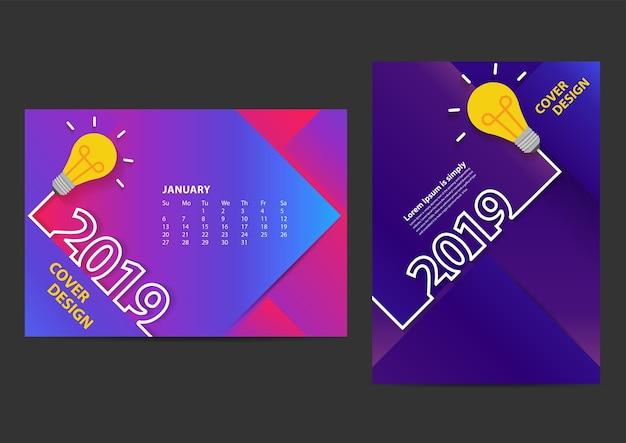 Kreative glühbirne ideen 2019 neujahr entwurfsvorlage Premium Vektoren