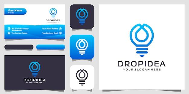 Kreative glühbirne lampe und tropfen oder wasser logo und visitenkarte design. idee kreative glühbirne und öllogo. Premium Vektoren