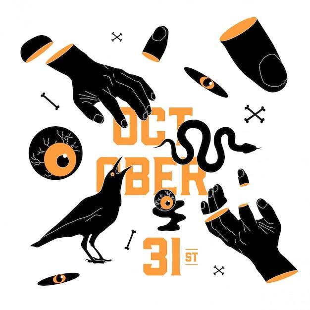 Kreative halloween-elemente in orange und schwarz. Premium Vektoren
