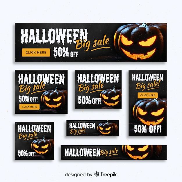 Kreative halloween web verkauf banner sammlung Kostenlosen Vektoren