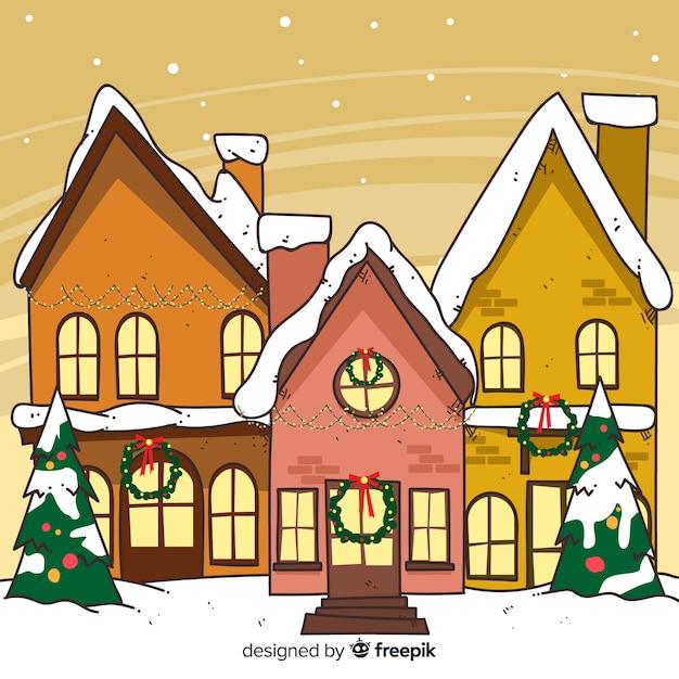 Kreative hand gezeichnete weihnachtsstadt Kostenlosen Vektoren