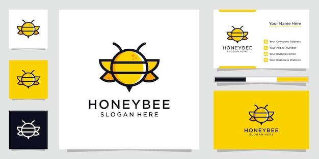 Kreative honigbienenlogo-inspiration. entwerfen sie logos, symbole und visitenkarten premium-vektor. Premium Vektoren