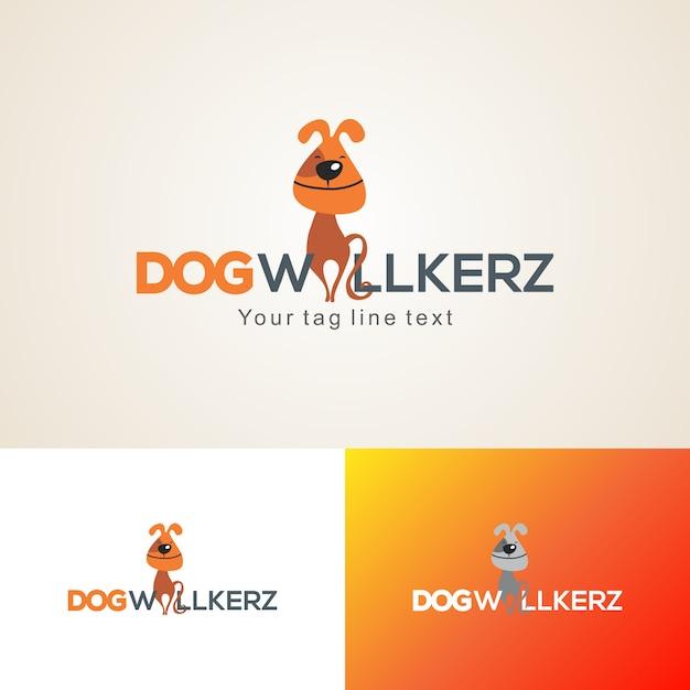 Kreative hundewanderer logo design template Premium Vektoren