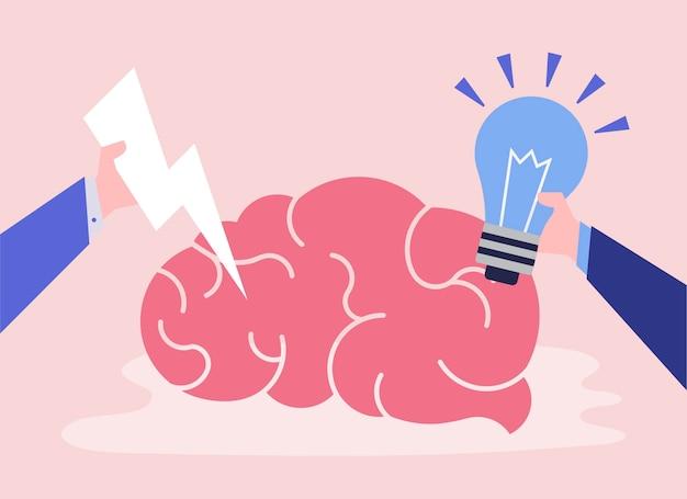 Kreative idee und denkgehirnikone Kostenlosen Vektoren
