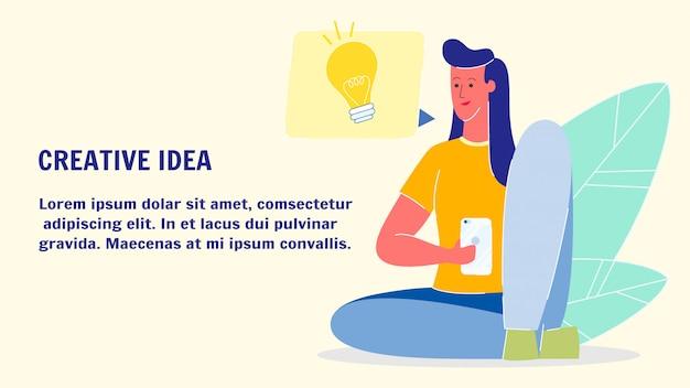 Kreative ideen-flache vektor-web-fahnen-schablone Premium Vektoren