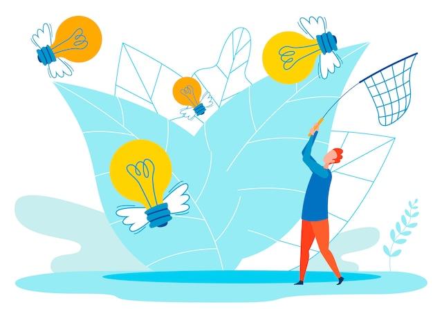 Kreative ideen-metapher flach Premium Vektoren