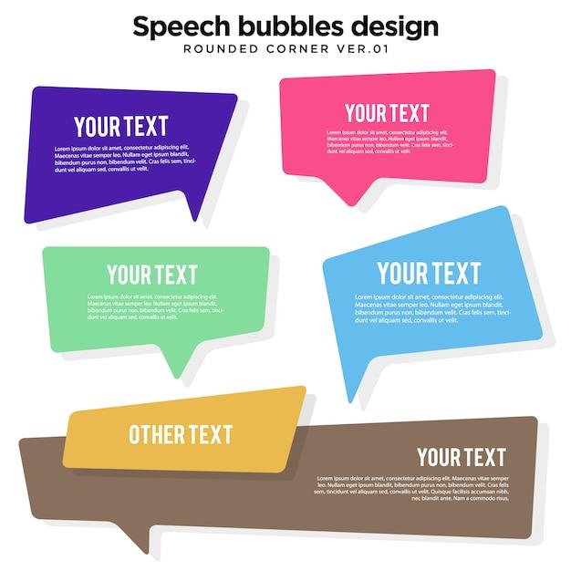 Kreative illustration der gerundeten ecke der spracheblase Premium Vektoren