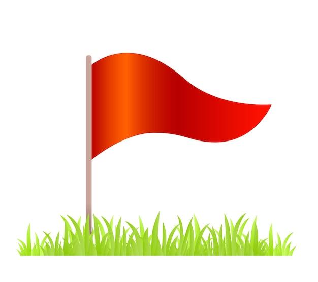 Kreative illustration der roten fahne auf weißem hintergrund mit gras Premium Vektoren