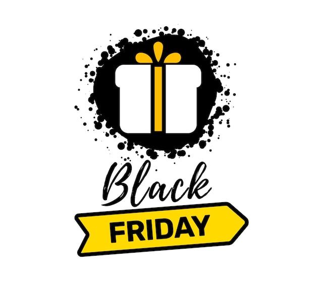 Kreative illustration der schwarzen freitag-verkauf-inschrifttypografie mit geschenk und band auf weißem farbhintergrund. t. Premium Vektoren