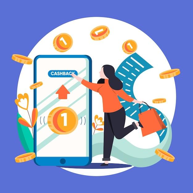 Kreative illustration des cashback-konzepts mit telefon Kostenlosen Vektoren
