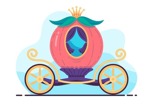 Kreative illustration des märchenhaften kürbiswagens Kostenlosen Vektoren