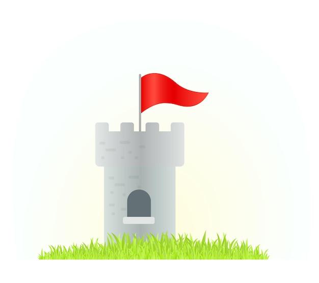 Kreative illustration des schlossturms mit roter flagge auf weißem hintergrund mit gras Premium Vektoren