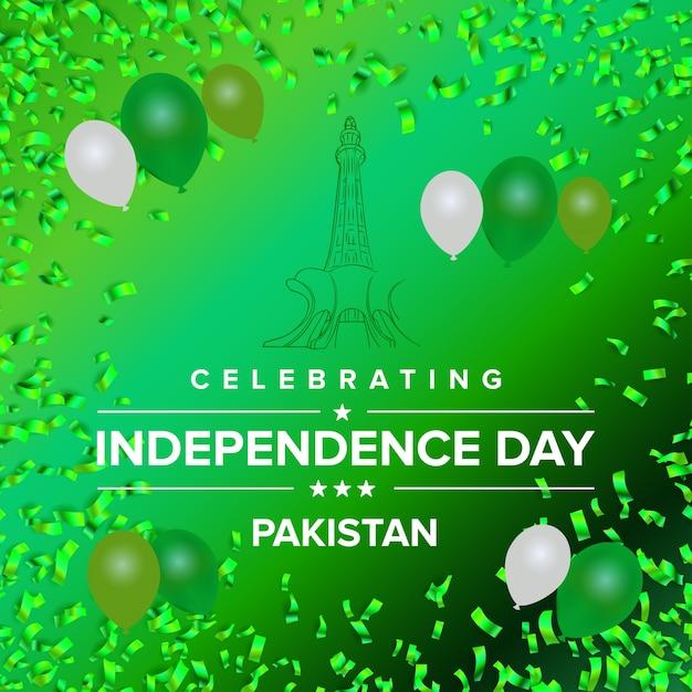 Kreative illustration für unabhängigkeitstag pakistan Kostenlosen Vektoren