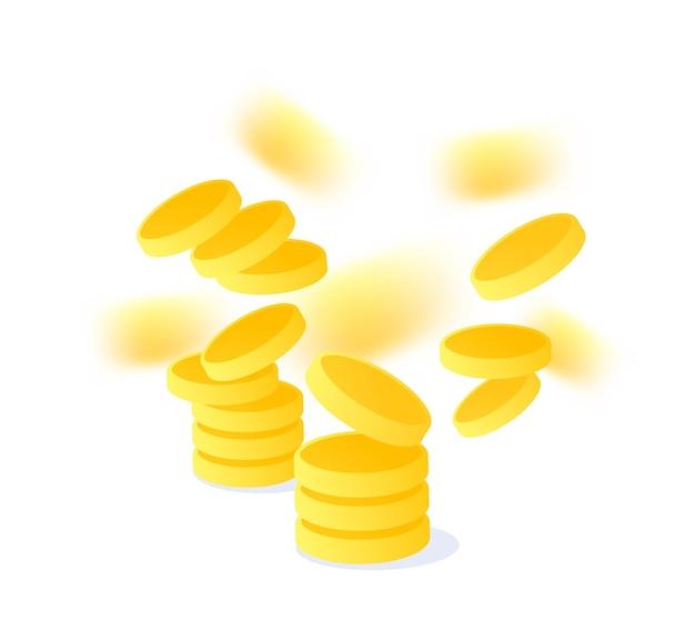 Kreative illustration mit goldener münze fliegen Premium Vektoren