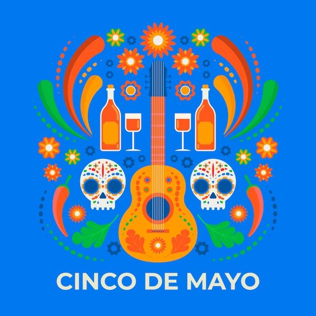 Kreative illustration von cinco de mayo mit gitarre und totenköpfen Kostenlosen Vektoren