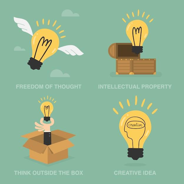 Kreative illustrationen mit glühbirnen Kostenlosen Vektoren