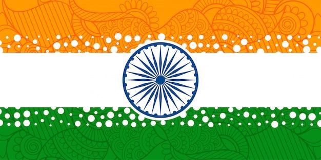 Kreative indische flagge mit mit ethnischer paisley-dekoration Kostenlosen Vektoren