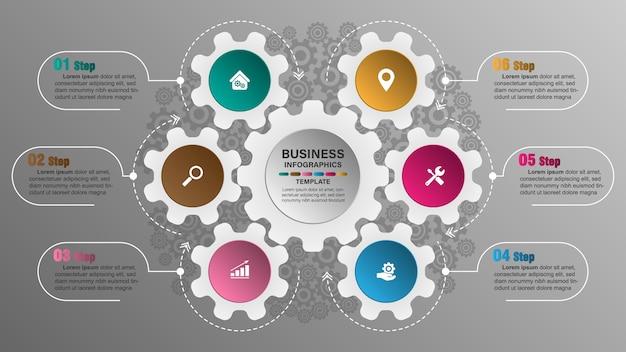 Kreative infografik-vorlage, 6 gang-textfelder mit piktogrammen. Premium Vektoren