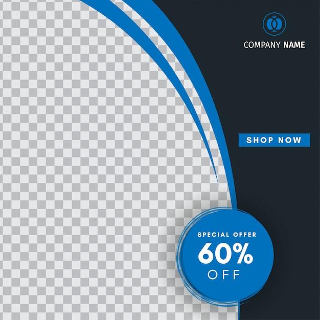 Kreative instagram-beitragsverkaufsschablone mit einer leeren abstrakten fahne Premium Vektoren