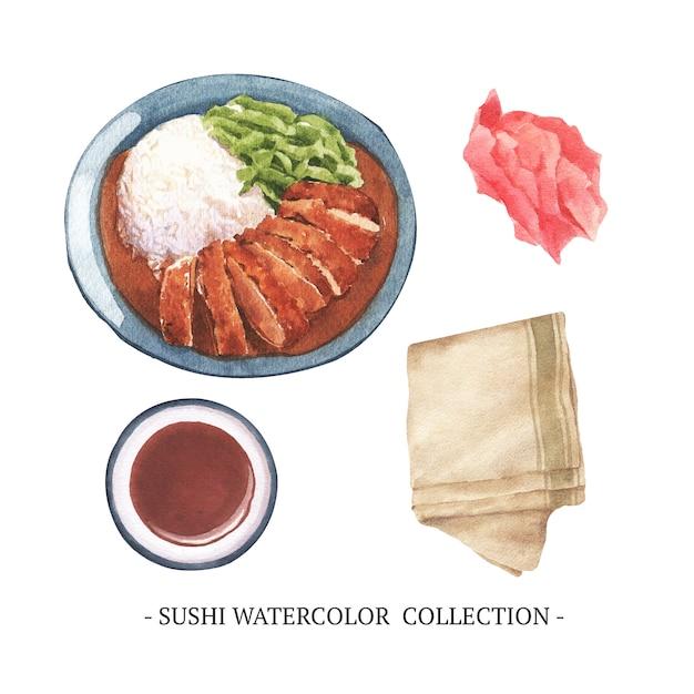 Kreative isoliert aquarell sushi Kostenlosen Vektoren
