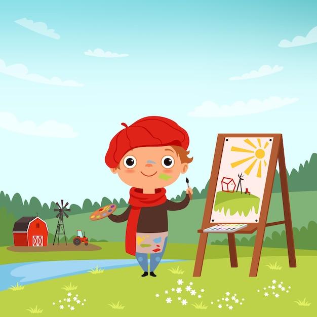 Kreative kinder, kleiner künstler, der im freien bilder macht Premium Vektoren
