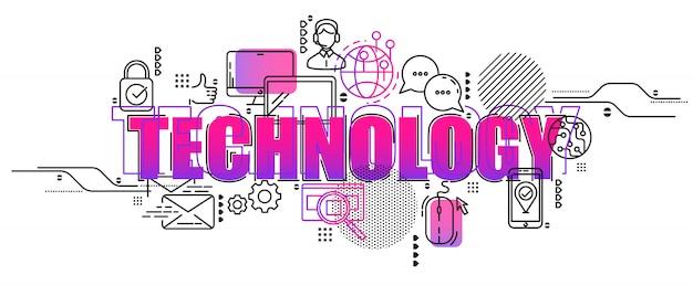Kreative konzeptillustration des rechenzentrums und der innovationstechnologie. horizontale kompositionsvorlage. Premium Vektoren