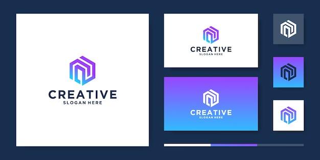 Kreative letter n logo design vorlage Premium Vektoren