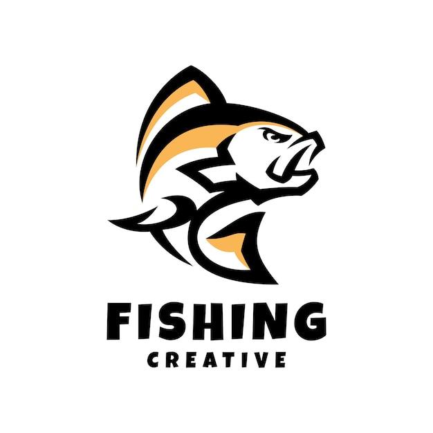 Kreative logo-design-vorlage zum angeln Premium Vektoren
