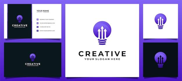 Kreative logo-lampenlampe mit pfeilkonzept für technologieunternehmen und visitenkarte Premium Vektoren
