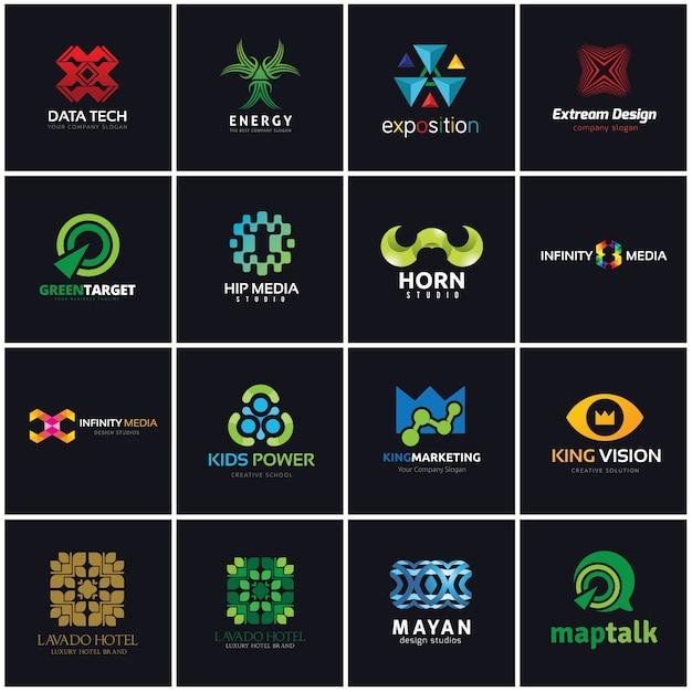 Kreative logo-sammlung, medien und kreative idee logo-design-vorlage. Premium Vektoren