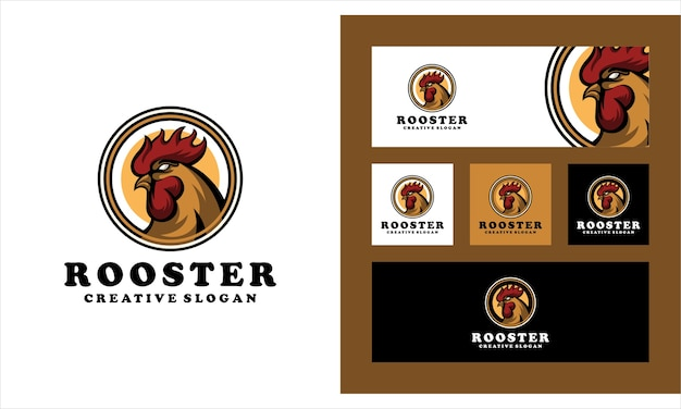 Kreative logo-vorlage des hahn-huhns Premium Vektoren