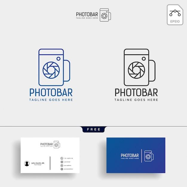 Kreative logo-vorlage für foto-bar, kamera und bar oder wein Premium Vektoren