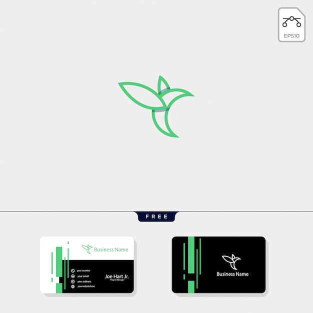 Kreative logoschablone der linie kunstkolibri Premium Vektoren