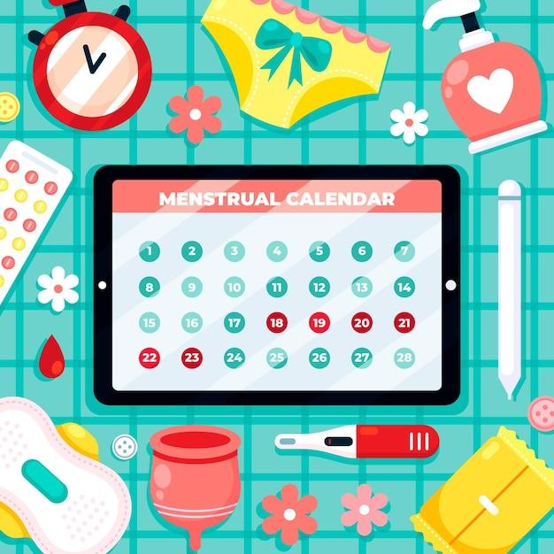 Kreative menstruationskalender-konzeptillustration Kostenlosen Vektoren