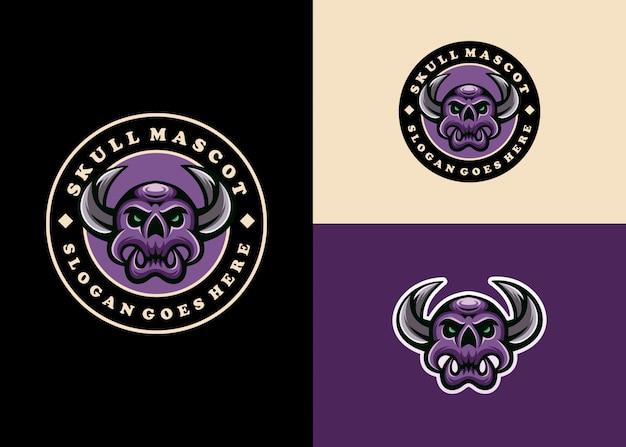 Kreative moderne schädel-emblem-maskottchen-logo-sammlung Premium Vektoren