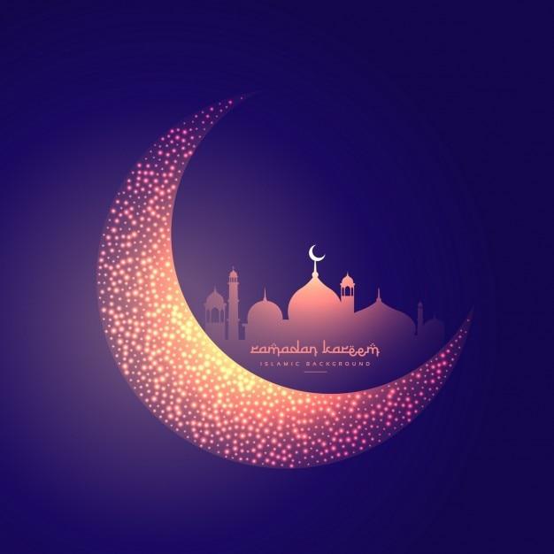 kreative Mond und leuchtende Moschee Design Kostenlose Vektoren