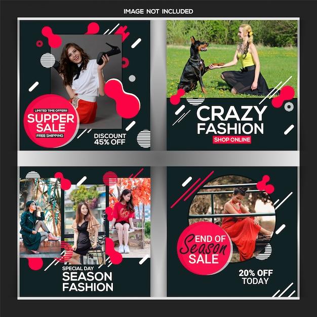 Kreative rabatt instagram post oder banner vorlage Premium Vektoren
