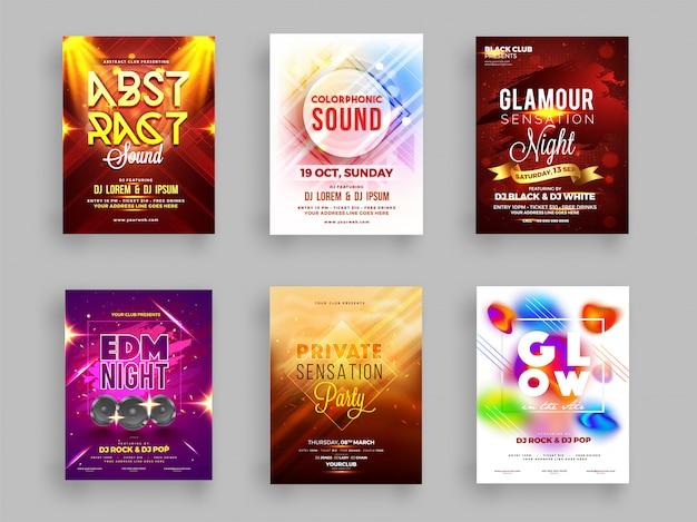 Kreative sammlung des musikalischen partyfliegers Premium Vektoren