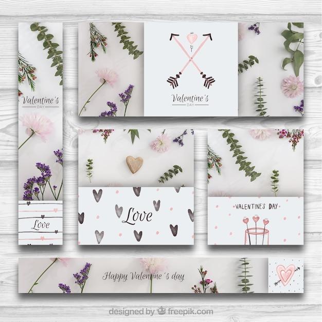 Kreative sammlung von bannern und karten für valentinstag Kostenlosen Vektoren