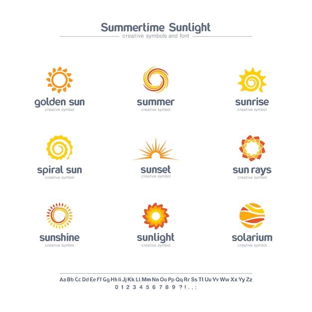 Kreative symbole des sonnenlichts der sommerzeit, schriftkonzept. spirale sonnenstrahlen, solarium abstraktes geschäftslogo. sommersonnenaufgang, goldene sternikone. Premium Vektoren