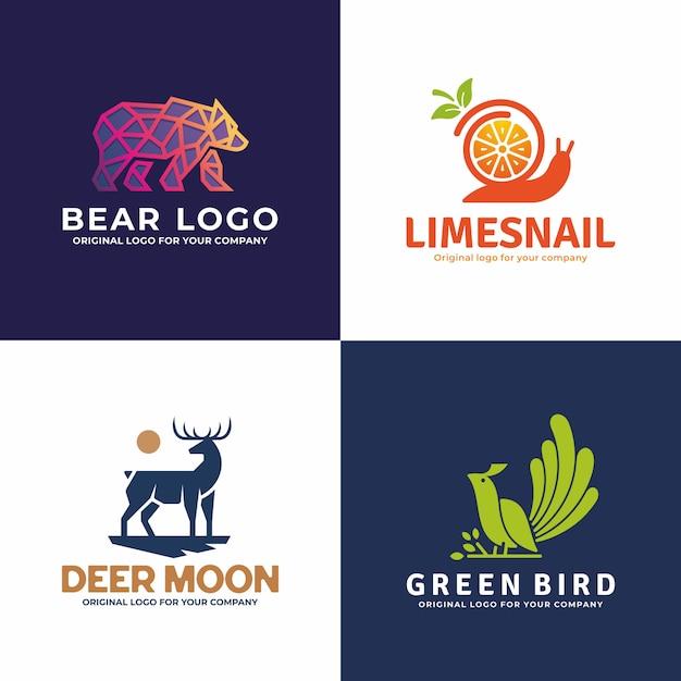 Kreative tierlogosammlung. Premium Vektoren