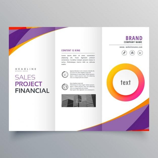 Kreative trifold Broschüre Vorlage mit lila und orange Wellenformen ...