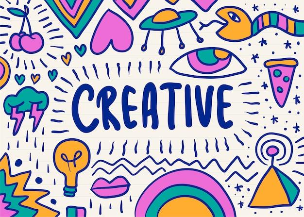 Kreative und bunte gekritzelgraphik Kostenlosen Vektoren