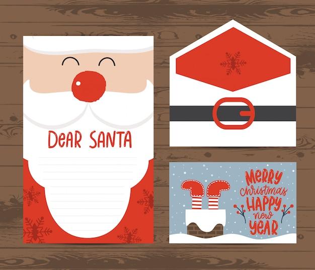 Kreative weihnachtsbrief- und umschlagschablone Premium Vektoren