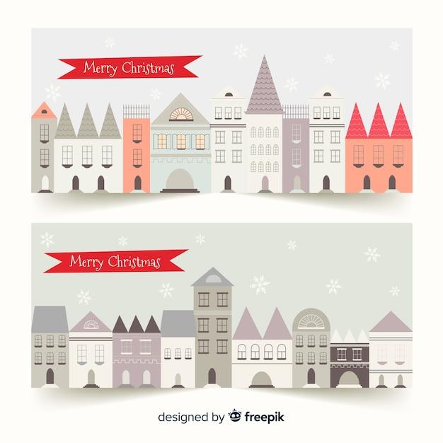 Kreative weihnachtsstadtfahnen Kostenlosen Vektoren