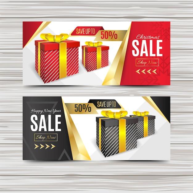 Kreative weihnachtsverkauf banner vorlage Premium Vektoren