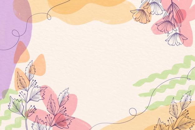 Kreativer aquarellhintergrund mit gezeichneten blumen Kostenlosen Vektoren