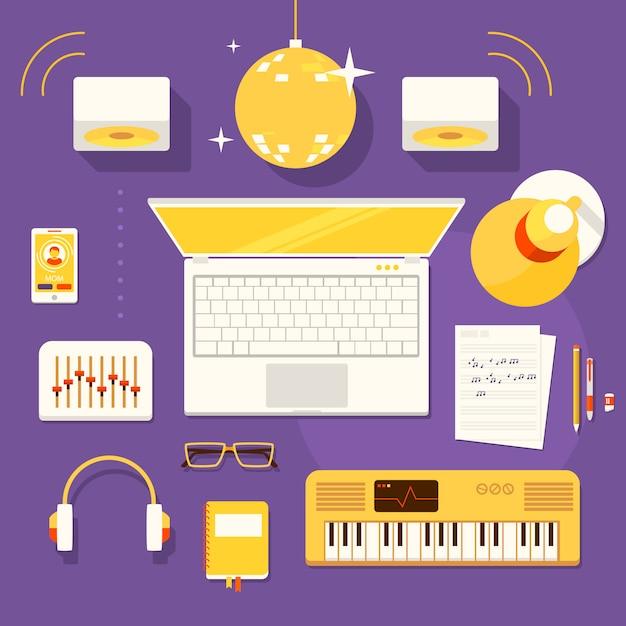 Kreativer arbeitsplatz des musikers Premium Vektoren