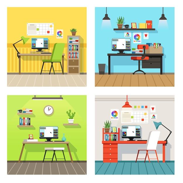 Kreativer arbeitsraum für designer Premium Vektoren
